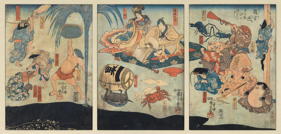 Sea creatures entertain Urashima Tarō and Oto Hime at the undersea Dragon Palace