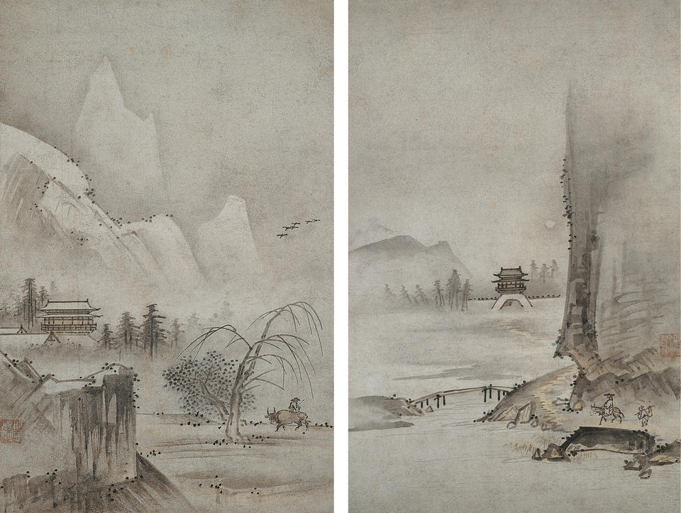 Two Views from Eight Views of the Xiao and Xiang Rivers (瀟湘八景)