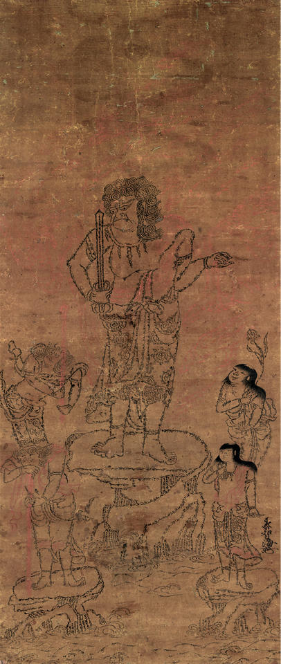 Fudō Myōō (不動明王) with Four Attendants, Outlined in Seed Syllables