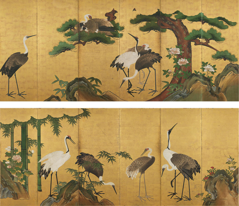 Cranes and Pines; Cranes and Bamboo