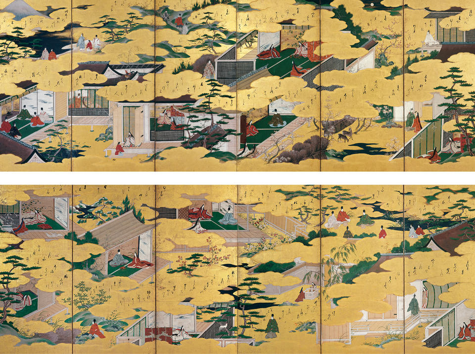 Seventeen scenes and poems from Ise monogatari (伊勢物語)