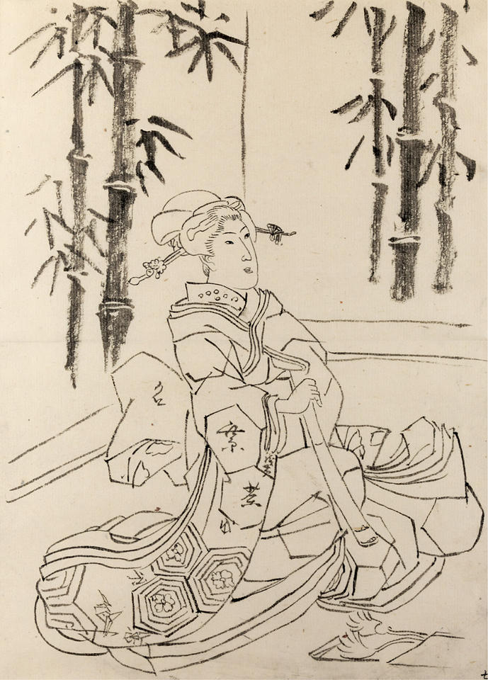 Preparatory drawing for the print of a seated woman