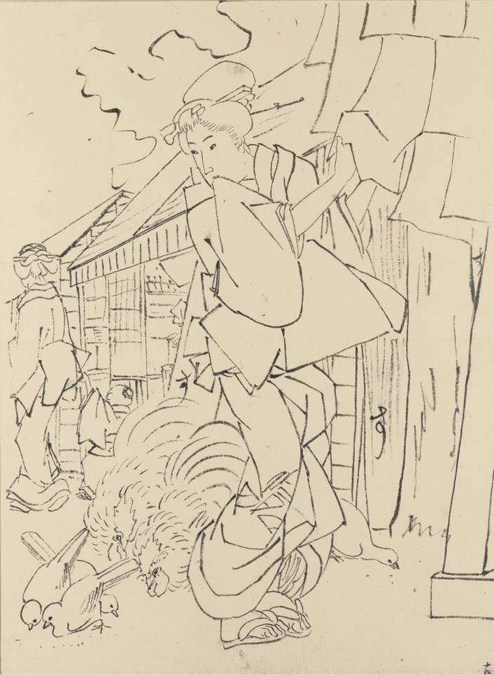 Preparatory drawing for the print of a street scene