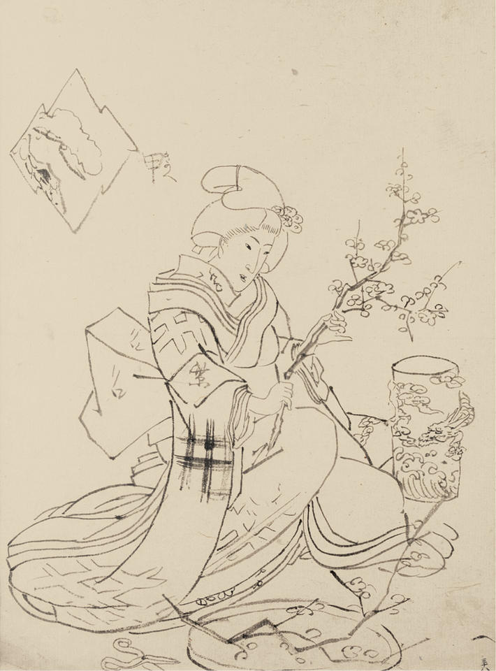 Preparatory drawing for the print of a woman arranging flowers