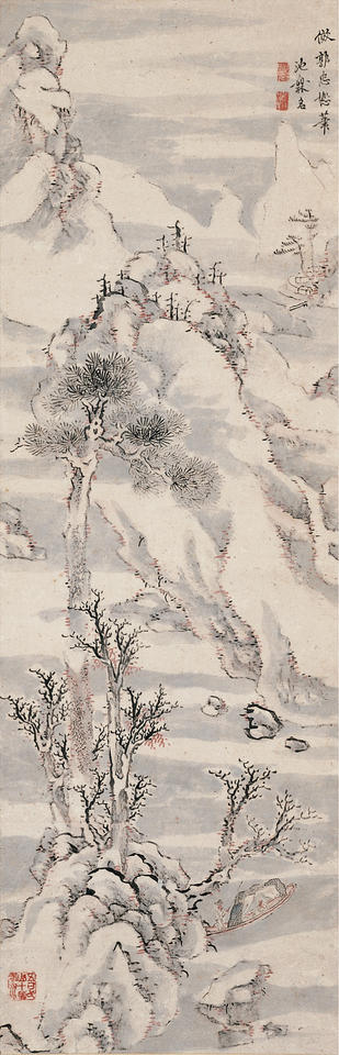 Wintry Landscape after Kaku Chūjo (Ch. Guo Zhongshu, 郭忠怒; fl. mid-10th century)