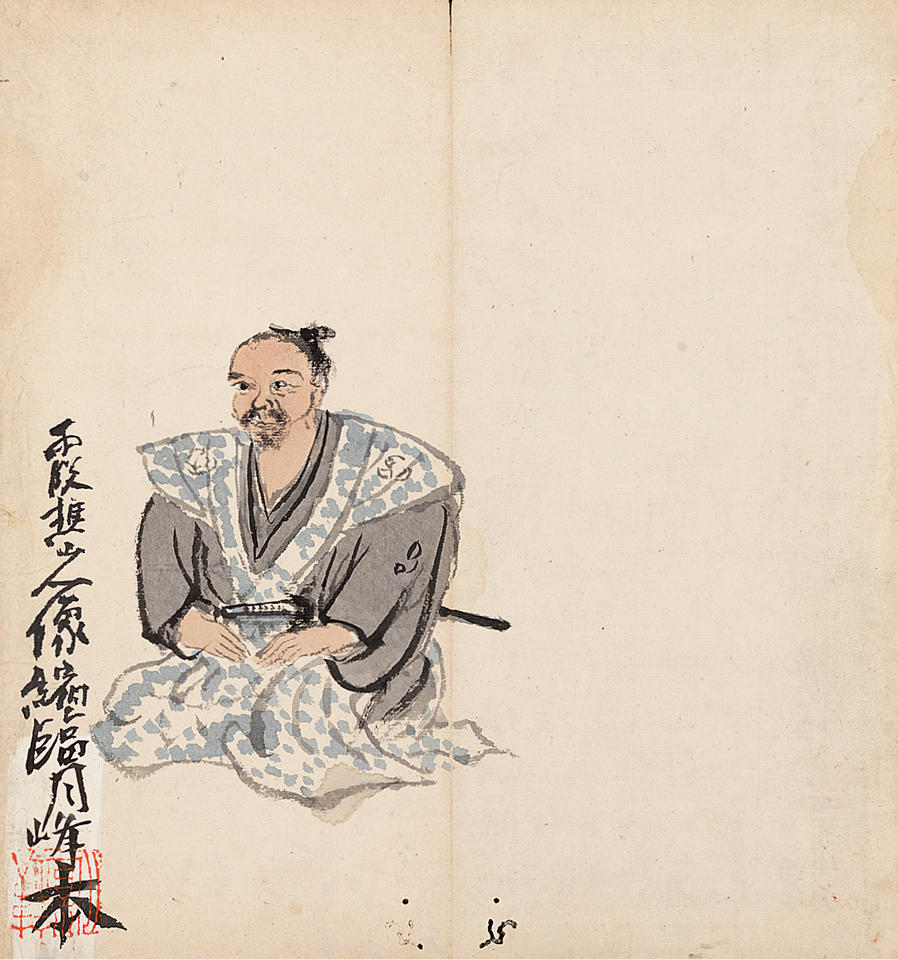 Portrait of Taiga (大雅) and His Calligraphies in Seal and Grass Styles copied by Tomioka Tessai