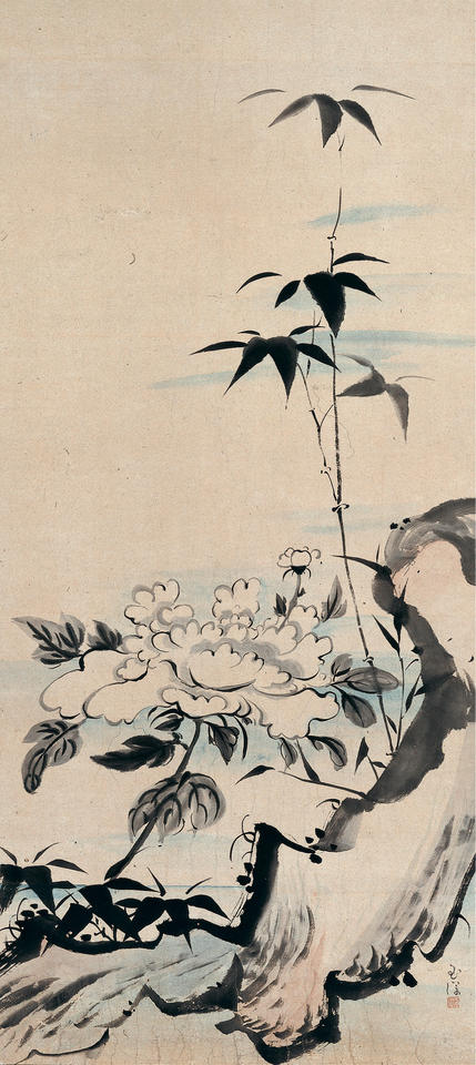 Peony and Bamboo by a Rock