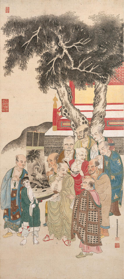 Ten Rakan (羅漢) Examining a Painting of White-Robed Kannon