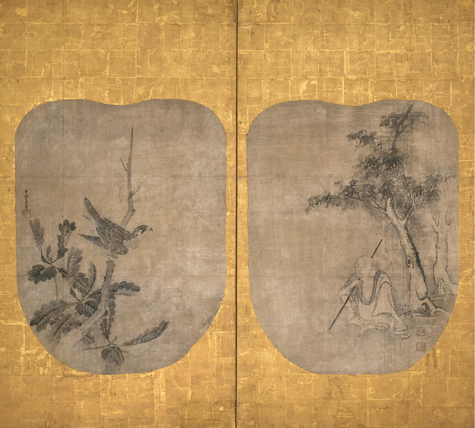 Daoist Immortal and Hawk on an Oak Tree
