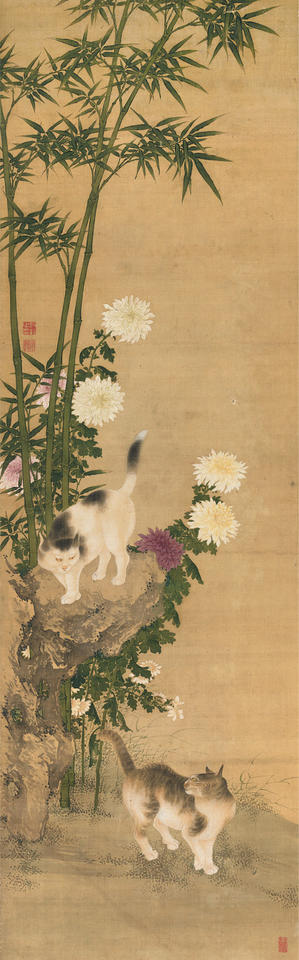 Cats by Bamboo and Chrysanthemums