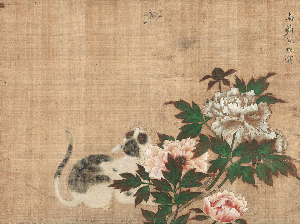 Cat and Butterfly among Peonies