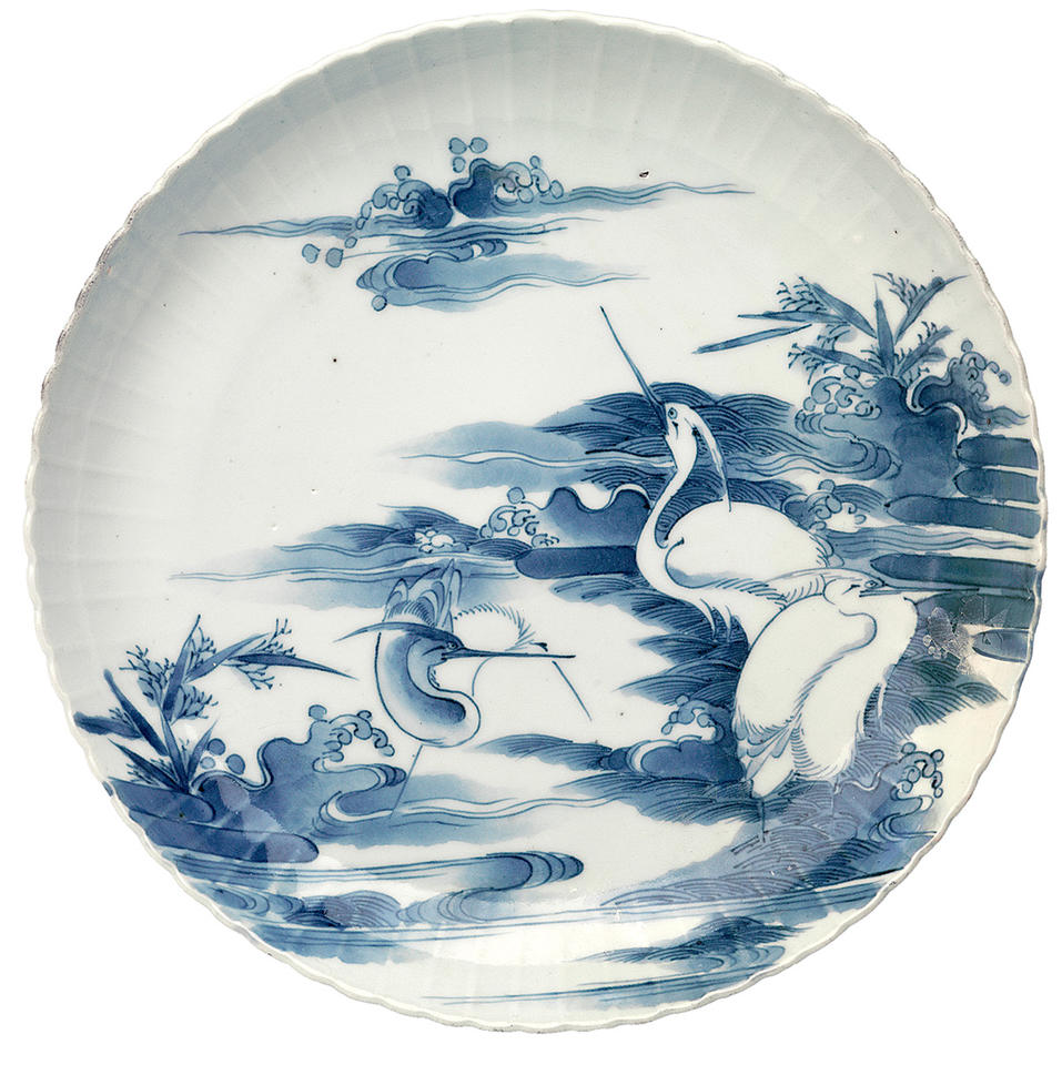 Pair of dishes with herons