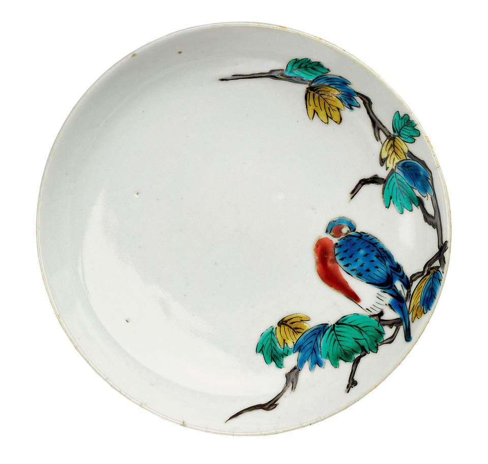 Plate with bird on branch