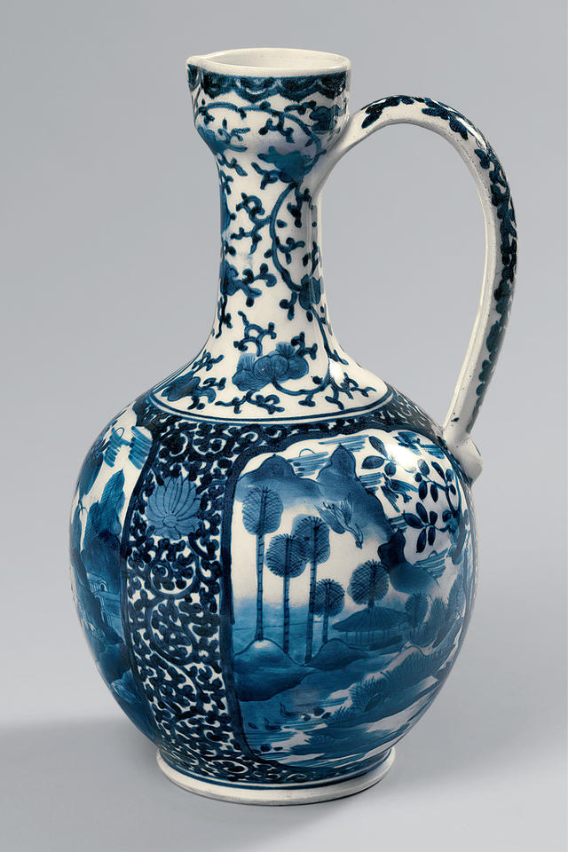 Ewer with landscapes and flowers