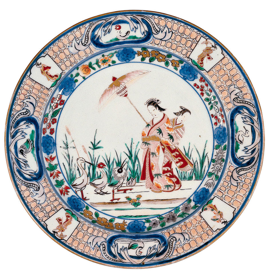 Plate with Pronk design of courtesan and attendant with umbrella