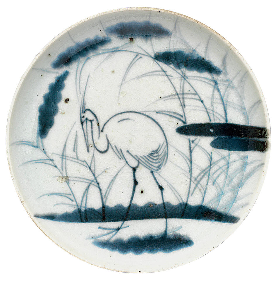 Plate with heron and grasses