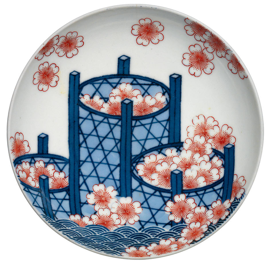 Plate with baskets and cherry blossoms