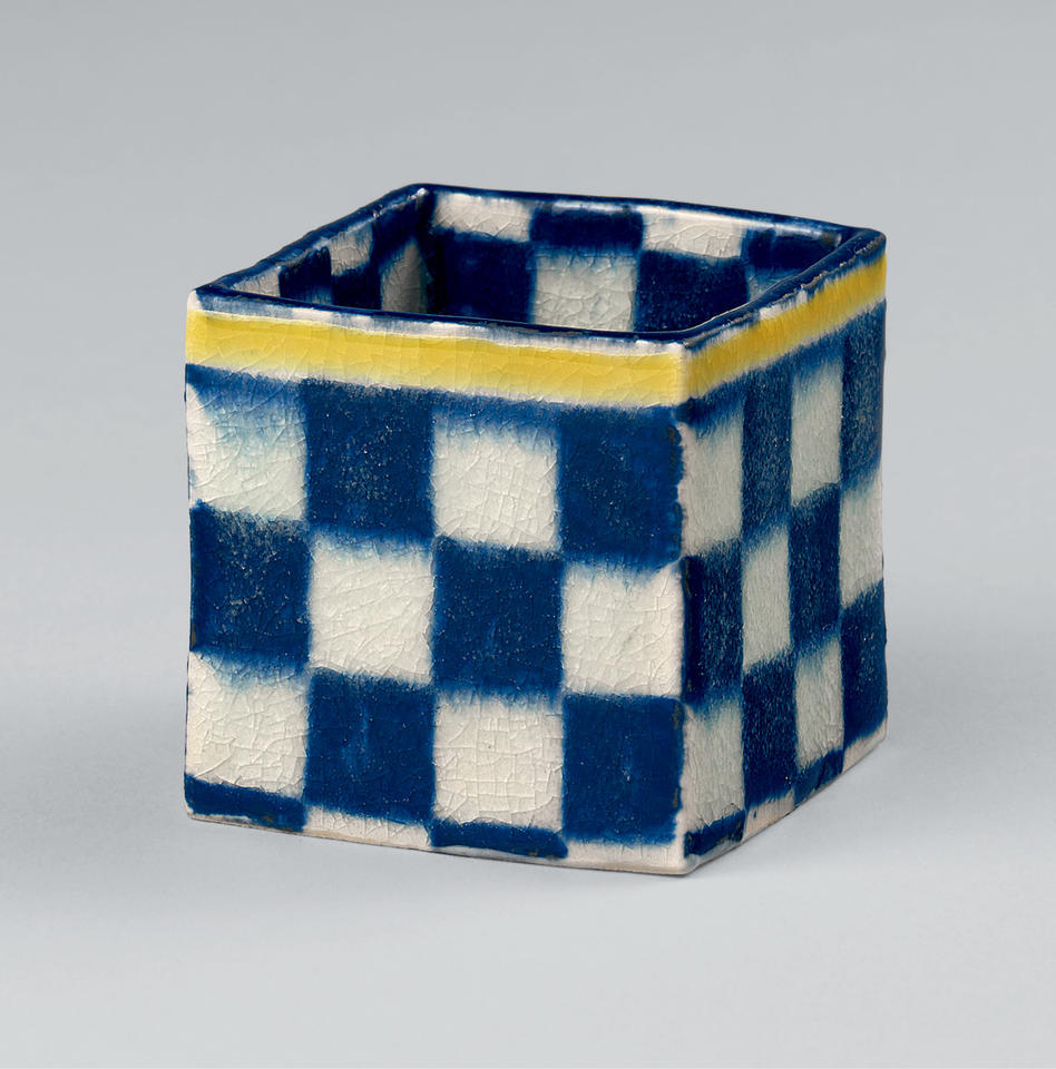 Sake cup with checkerboard design in the style of Ogata Kenzan (尾形乾山; 1663–1743)