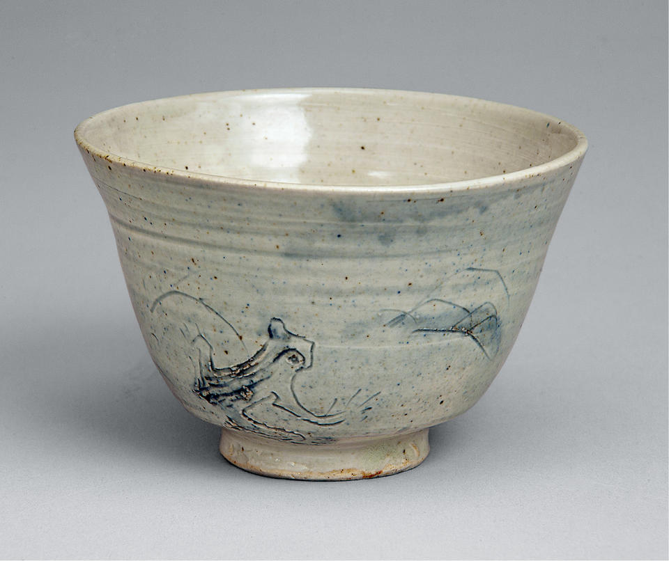 Tea bowl with frog