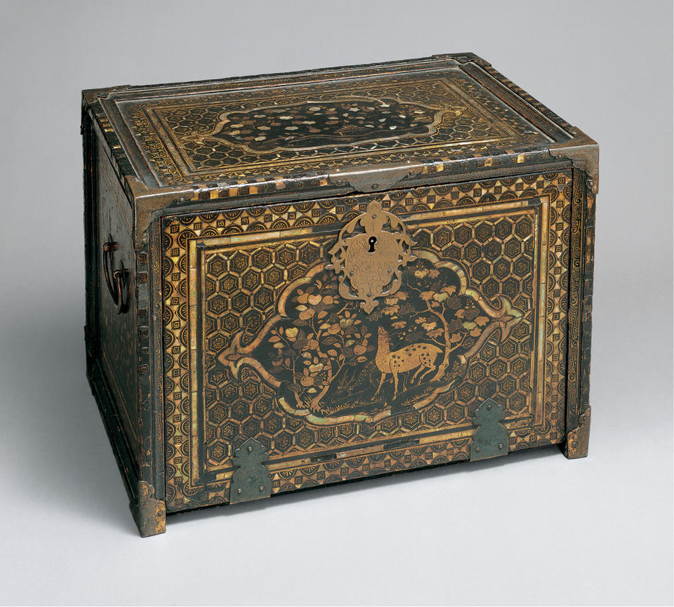 Nanban (南蛮) cabinet with geometric patterns and deer, birds, fish, plants, and cart wheels partially submerged in water
