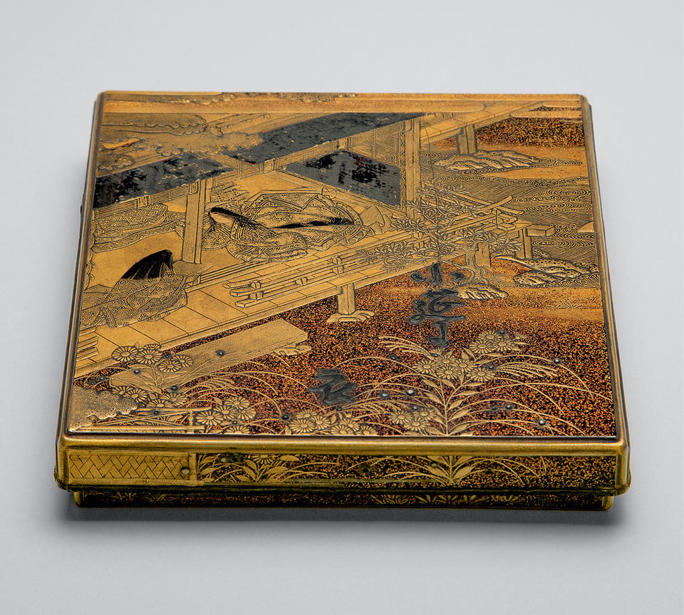 Writing box (suzuribako, 硯箱) with poem from Kokin wakashū (古今和歌集)