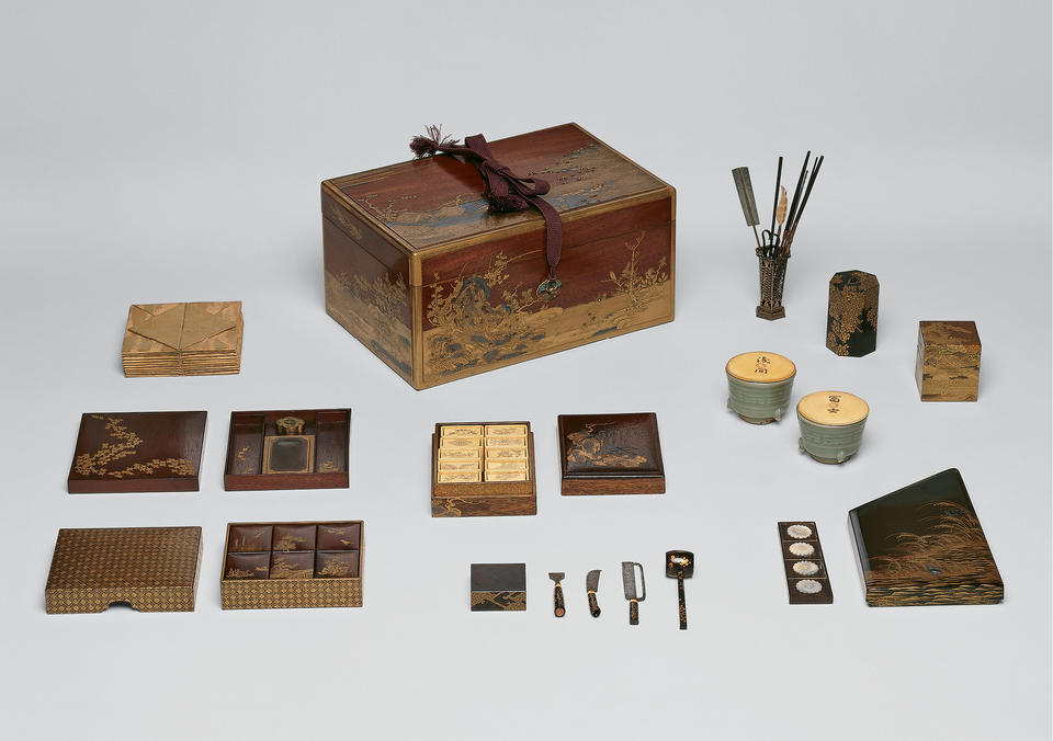 Box and assorted implements for the incense game