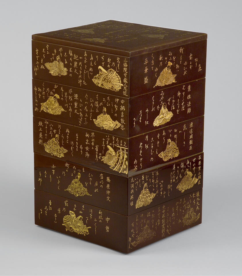 Stacked food boxes (jūbako, 重箱) with the Thirty-Six Immortal Poets (三十六歌仙)