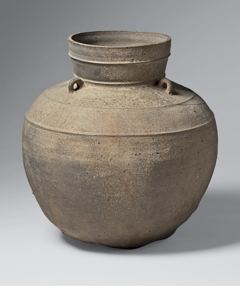 Long-necked jar with three loop-handles