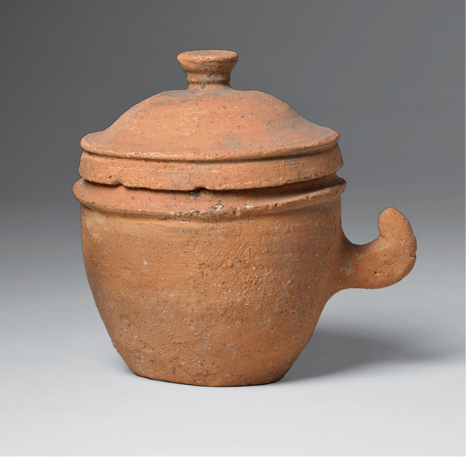 Small lidded jar with handle