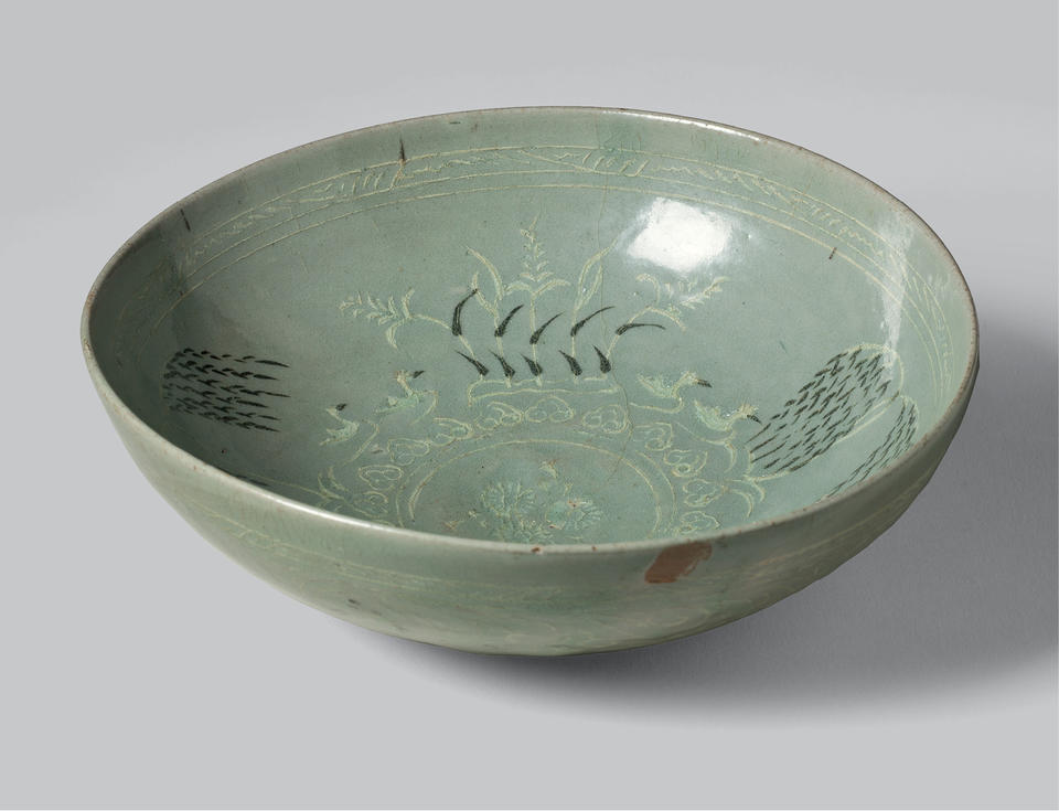 Bowl with waterfowl, willows, and reeds