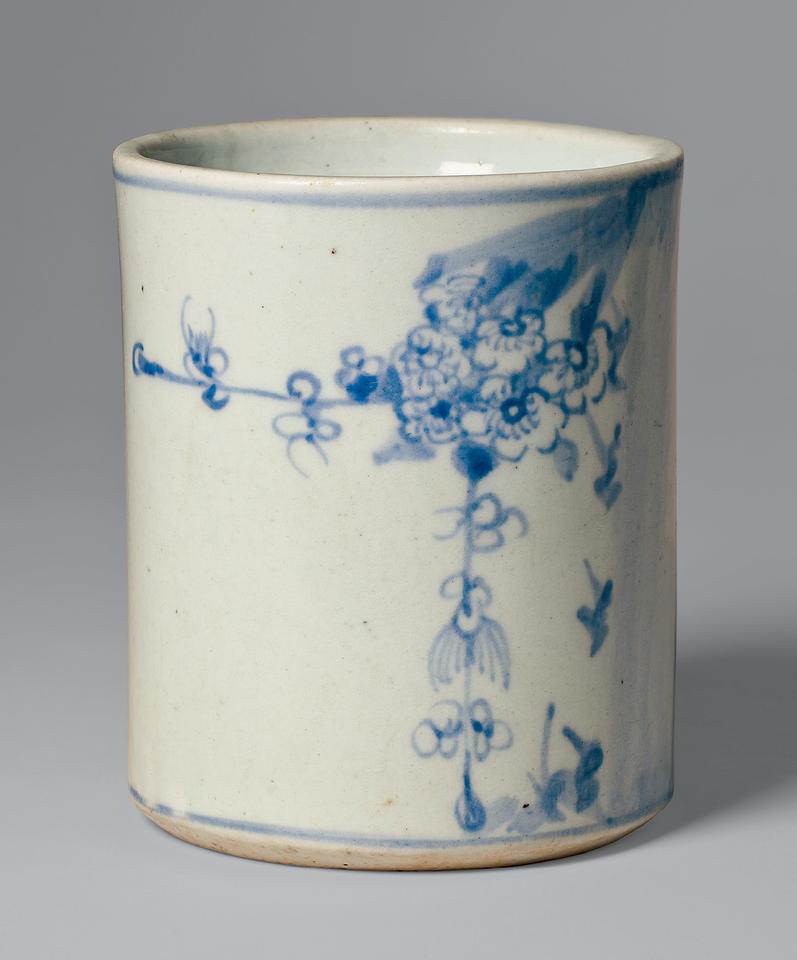 Brush holder with bamboo and plum blossoms