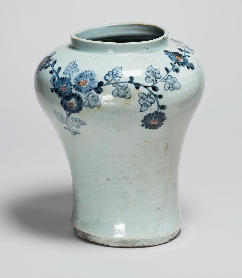 Vase with chrysanthemums and bamboo