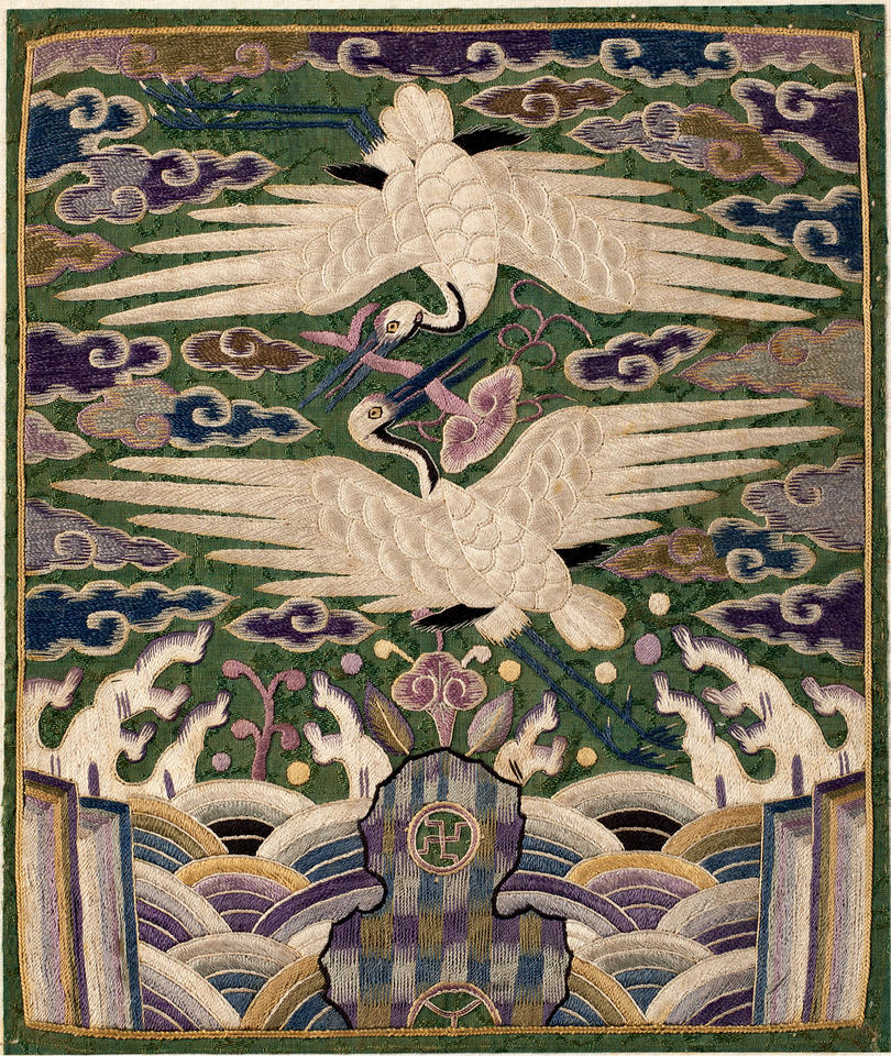 Pair of rank badges (hyungbae, 胸背) with double cranes